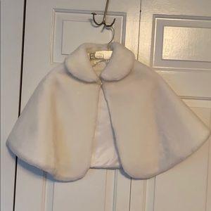 Girls White Faux Fur Shrug/Cape w/pearl loop clasp